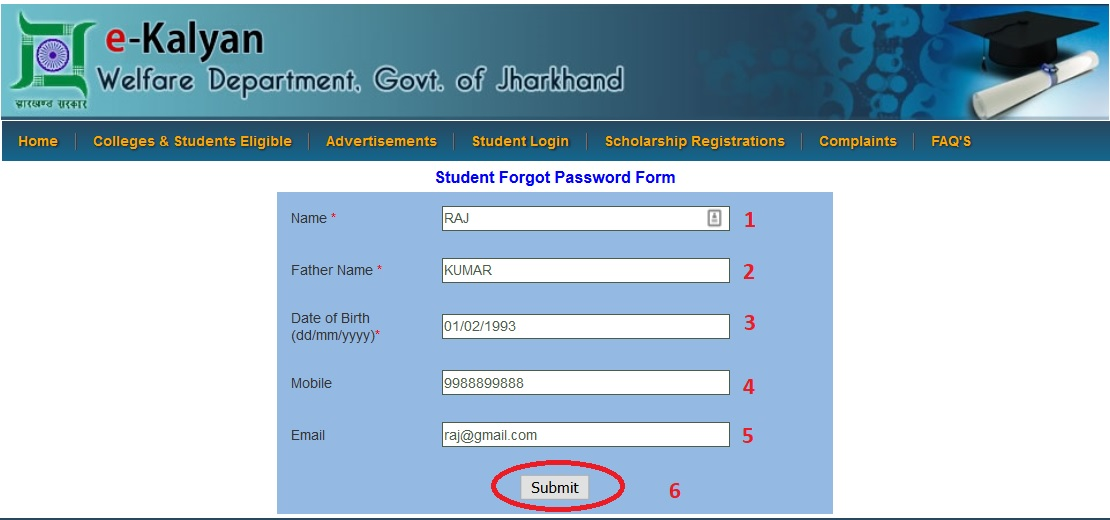 Ekalyang student forgot password form e kalyan jharkhand step 3 enter date of birth in the format of ddmmyyyy step 4 enter mobile number step 5 enter email id step 6 click on the submit button altavistaventures Gallery