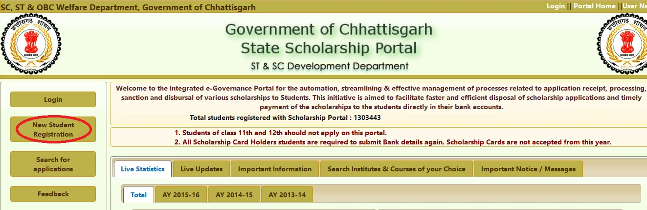 mpsc mp nic in : Chhattisgarh SC/ST/OBC State Scholarship One Time