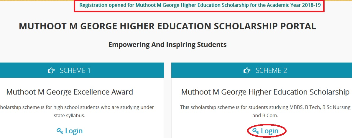 Muthoot M George Higher Education Scholarship 2018-19 : muthnet com