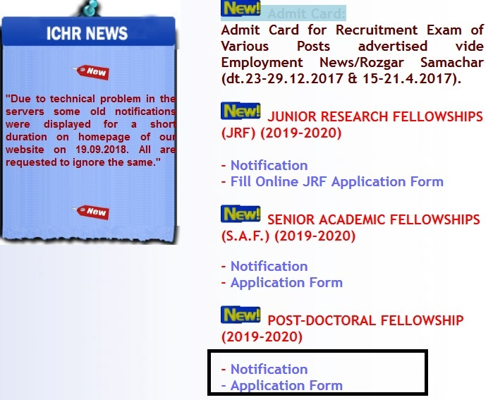ICHR PDF Post Doctoral Fellowship 2019-20 : Indian Council of