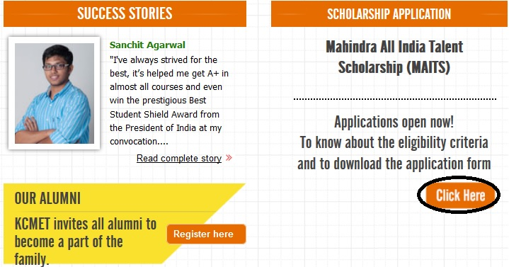 Kcmet maits mahindra all india talent scholarship 2018 www enclosures altavistaventures Choice Image