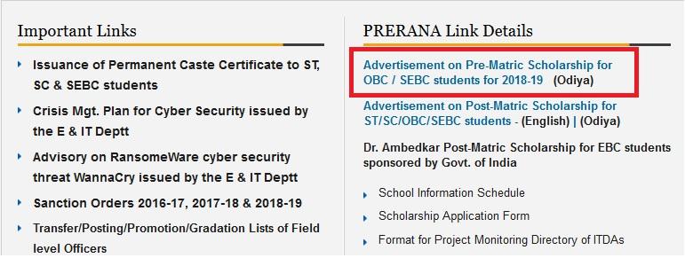 stscodisha gov in Pre-Matric Scholarship For OBC/SEBC Students 2018