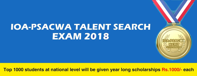 IOA PSACWA Talent Search Exam & Merit Scholarship 2018 International