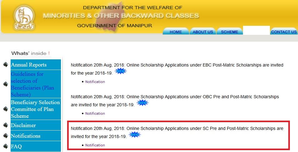 Mobcmanipur Gov In Post Matric Scholarship To Sc Students 2018 19