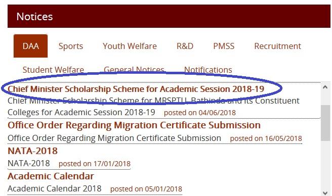 MRSPTU 2018-19 Chief Minister Scholarship Scheme : Maharaja Ranjit