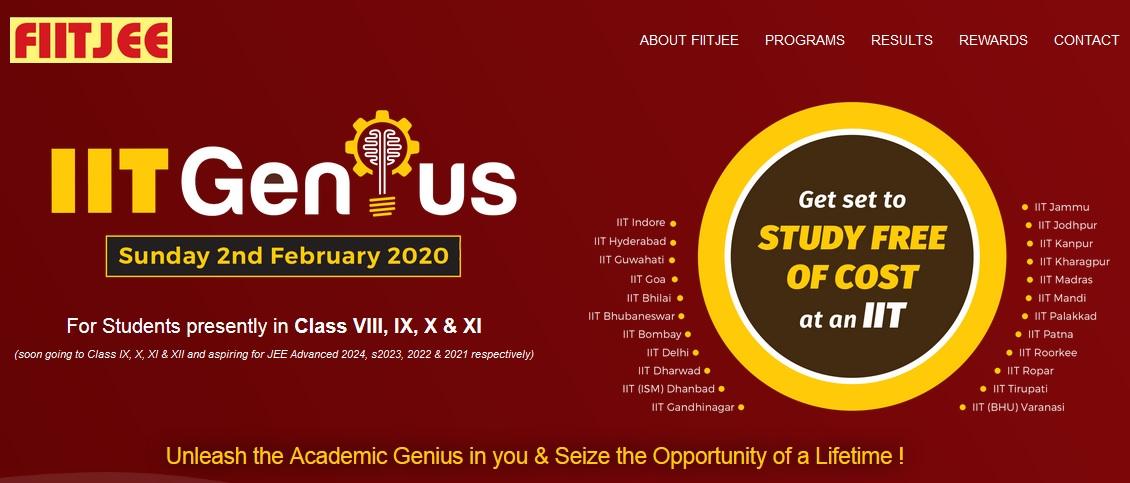 FIITJEE IIT Genius Scholarship Test 2020 : iitgenius.com ...