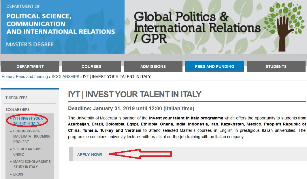 University of Macerata Invest Your Talent In Italy IYT Scholarship